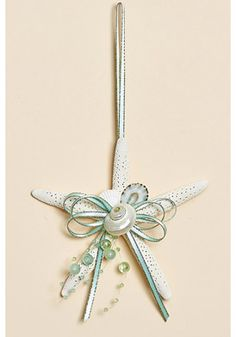 #HarvestofBarnstable Finger Starfish Ornament with Natural White Shells - Set of 3