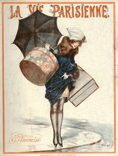 "Art Deco ad ""La Vie Parisienne"" which involves some enormous hat boxes and the need to jump a puddle in silk stockings!"