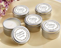 Personalized Travel Candle Tin -The Hunt Is Over #wedding #partyfavors #candle