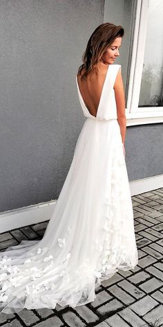 24 Awesome Simple Wedding Dresses For Cute Brides ❤ simple wedding dresses a line cap sleeves low back with train murashka official ❤ Full gallery: https://weddingdressesguide.com/simple-wedding-dresses/ #bride #wedding #bridalgown