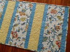 Blue and Yellow Table Runner Quilted Table Runner by susiquilts