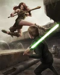 Luke fighting Teneniel Djo in the ruins of the Chu'unthor.