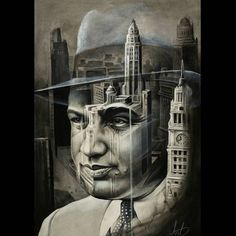 Capone/chicago skyline painting...