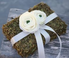 Woodland Rustic Moss Ring Bearer Pillow by braggingbags on Etsy, $29.99