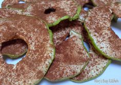 Cinnamon Sprinkled Dried Apple Slices. Make your own healthy dried fruit. No added sugar or additives. Grab a snack!