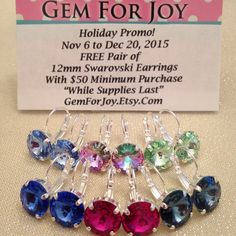 """HOLIDAY PROMO! Nov 6 Dec 20, 2015 FREE Pair 12mm Swarovski Earrings With $50 Minimum Purchase """"While Supplies Last"""" Choose: Row 1-Light Sapphire, Vitrail Light, Chrysolite Green Row 2-Sapphire, Fuchsia Pink, Denim Blue  Happy Holidays, from me to you!"""