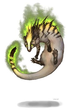 The raijyu  is a legendary creature from Japanese mythology. Its body is composed of lightning and may be in the shape of a cat, fox, weasel, or wolf. The form of a white and blue wolf (or even a wolf wrapped in lightning) is also common. It may also fly about as a ball of lightning (in fact, the creature may be an attempt to explain the phenomenon of lightning). Its cry sounds like thunder.