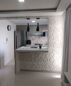A kitchen island dream for any tiny apartment. Space does not reflect the quality ? Design your house with House Design, Modern Kitchen Design, Home Decor Kitchen, Top Kitchen Colors, Home, Kitchen Design Small, Tiny Apartment, Kitchen Remodel Layout, Small Apartment Kitchen