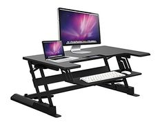 ApexDesk ZT Series Height Adjustable Sit to Stand Electric Desk Converter, Design with Large Upper Work Surface and Lower Keyboard Tray Deck (Electric Riser, Black) Sit Stand Workstation, Sit Stand Desk, Sit To Stand, Wood Computer Desk, Wood Writing Desk, Laptop Desk, Adjustable Standing Desk Converter, Adjustable Height Desk, Modern
