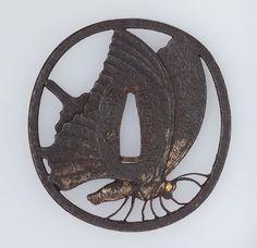 Tsuba with design of Taira butterfly. Japanese. Edo period. 19th century. Kaneie (Japanese), Kaneie School
