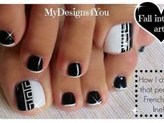 Black and white toenail art design in a Greek style, and how to make that perfect French tip line using just a dotting tool! Pretty Toe Nails, Cute Toe Nails, Cute Acrylic Nails, Fancy Nails, French Pedicure, Pedicure Nail Art, French Tip Nails, Pedicure Ideas, Toenail Art Designs