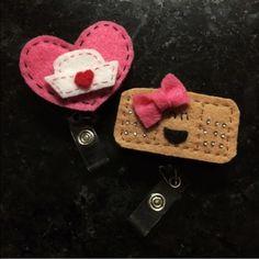 Nurse ID Badge Clips Handmade felt retractable ID badge clips. Brand New Accessories Key & Card Holders