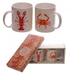 #Lobster and #Crab Design New Bone China Set of 2 Mugs - www.dochsa.com #Dochsa