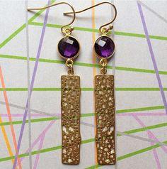 amethyst & bar pendant earrings by Sparkazilla on Etsy www.etsy.com/shop/sparkazilla