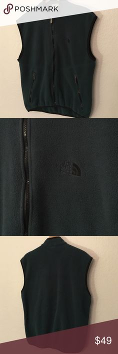 North Face Fleece Vest This vest is a hunter green and black color combo. Has two pockets in the front. Gently used condition. This is a Men's Large but would work for a Women's L-XL in my opinion. North Face Jackets & Coats Vests