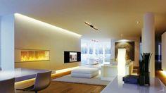 salon moderne avec corniches sol et plafond, lampadaire et spots