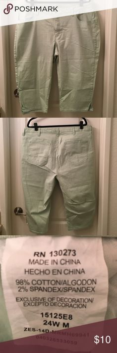 Mint green stretch capris. Only washed and worn once. Almost new. Lovely light green/mint color. Good stretch. Lee Pants Capris