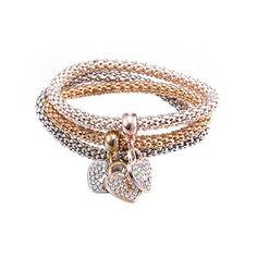 Heart Lock Shape Pattern Chain and Link Bracelet - Multi Skyrim, Link Bracelets, Bangle Bracelets, Bangles, Statement Bracelets, Sunflower Jewels, Women Jewelry, Fashion Jewelry, Swarovski Bracelet