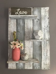 Gray Pallet Wall Shelf, Pallet Wall Shelf, Your Bedroom, Bedroom Wall Shelf Reclaimed wood shelf with three shelves. The depth of the shelves vary from 3 to however if Pallet Wall Decor, Pallet Wall Shelves, Reclaimed Wood Shelves, Pallet Walls, Diy Wall Decor, Wood Shelf, Bedroom Decor, Bedroom Wall, Pallet Furniture