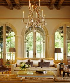 Rustic beams, but everything else is formal-- Ann Holden