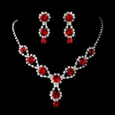 silver necklace   earring set with ruby red crystals and clear rhinestones jewelry sets