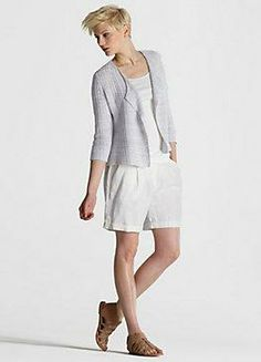 drape front jacket in organic linen #eileenfisher