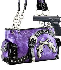 Dual Six-Shooter Shoulder w/Studs(Concealed Carry Purse) HANDBAGS - PURPLE ** You can find more details by visiting the image link.