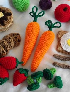 crocheted play food...I'd never make these...but I have to admit they're pretty cute.