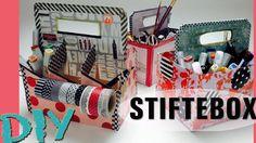 DIY / STIFTEBOX / SCHREIBTISCH AUFBEWAHRUNG / WASHI TAPES / SELBER MACHEN / DESK ORGANIZATION Washi Tape, Organizer, Stampin Up, Holiday Decor, Youtube, Writing, Diy, Workplace
