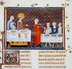 La vaisselle d'apparat    Vie et miracles de monseigneur saint Louis, XIVe siècle   Paris, BnF, Département des manuscrits, Français 5716 fol. 187