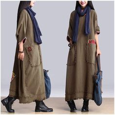 Art Maxi Size Casual Loose Long Dresses Women Clothes Clothes will not … – Linen Dresses For Women Folk Fashion, Hijab Fashion, Fashion Dresses, Womens Fashion, Fashion Clothes, Linen Dresses, Casual Dresses, Casual Clothes, Maxi Dresses