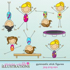 Gymnastics Stick Figures Cute Digital Clipart