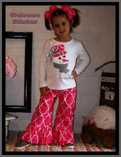 Snowlady Christmas Ruffle Pants Outfit for by SweetSophiaDesigns, $46.99