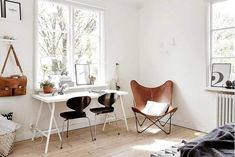 Scandinavian interior, tan leather butterfly chair in home office. Workspace Inspiration, Interior Inspiration, Bedroom Inspiration, Design Ikea, Leather Butterfly Chair, Scandinavian Home, Home Office Design, Office Designs, Furniture Design
