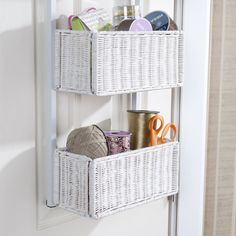 Behind-the-Door Basket Storage Hanger - White - Unique Modern Furniture - Dot & Bo