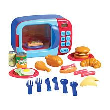 Christmas ideas to go along with Maya's play Kitchen set.   Just Like Home Microwave Oven - Red/Blue