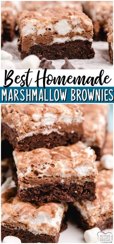 Homemade Marshmallow Brownies are fudgy, chocolaty brownies with a melted marshmallow topping! Perfect from scratch brownie recipe for anyone who loves chocolate & marshmallows! #brownies #chocolate #baking #marshmallows #dessert #easyrecipe from BUTTER WITH A SIDE OF BREAD
