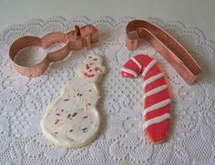 Martha By Mail Copper Cookie Cutter Set Snowman And Candy Cane