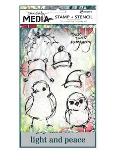 Dina Wakley Media SCRIBBLY HOLIDAY BIRDIES Stamp and Stencil Set MDZ47872