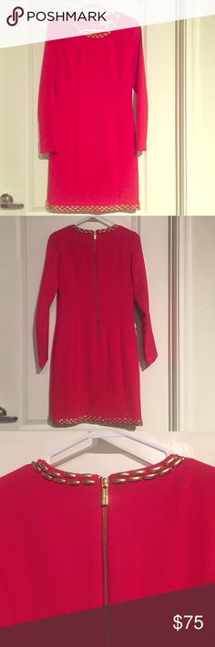 Michael Kors Long Sleeve Dress Brand new with tags! Material: 62% Polyester, 34% Rayon, 4% Spandex with gold details on neckline and bottom of dress. Approximately 35 inches long. MICHAEL Michael Kors Dresses Long Sleeve