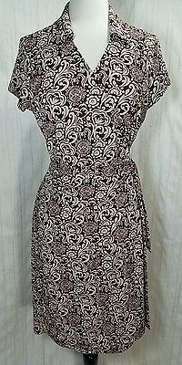 Ann Taylor Wrap Dress Beige and Brown Floral Geometric Polyester Size14 Petite