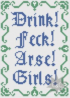 Father Ted Father Jack feck quote cross stitch by CapesAndCrafts Cross Stitch Boards, Cross Stitch Alphabet, Cross Stitch Samplers, Cross Stitching, Cross Stitch Embroidery, Cross Stitch Patterns, Ted Quotes, Father Ted, Positive Phrases