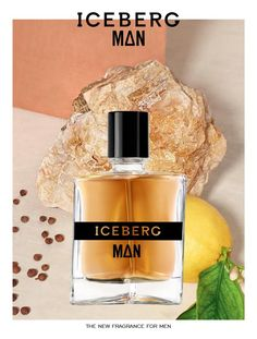 Iceberg   Communication Iceberg Man, reflected in a warm fusion of golden resins and creamy sandalwood. Balanced together, the two facets create a pure concentrate of manly charm.