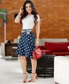37f85cc11f Livia Fashion Store. CONJUNTO SAIA POÁ COM BLUSA ...