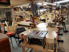 Other than Michigan-based Two Waters Woodworking's custom-designed furniture, home bars, man-cave decor, and tables, what stands out most is the shop's efficiency. Two Waters' owner Pete Goetz has built himself a multi-functional workstation that encompasses his table saw, miter saw, and router table.