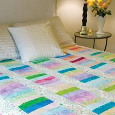 Gelato: Fast Strip Pieced Bed Quilt Pattern...featured in America Makes Fast Quilts Spring 2012.