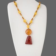 Necklace, amber (assembled), round and rondelle beads, 21 inches. Sold individually.