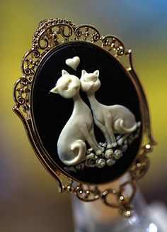 Beautiful Rose Cat Detailed Cameo Pins Brooches, Pendant Necklace(Two-way)