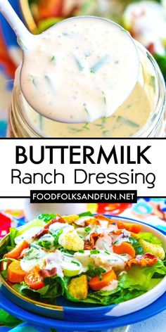 This Buttermilk Ranch Dressing recipe is rich, creamy, and packed with flavor from freshly pressed garlic and fresh dill and chives. Potluck Recipes, Best Dinner Recipes, Side Dish Recipes, Grilling Recipes, Slow Cooker Recipes, Appetizer Recipes, Buttermilk Ranch Dressing, Ranch Dressing Recipe, Salad Dressing Recipes