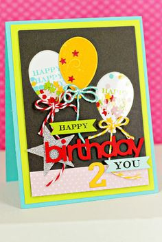 Shaker Balloons Card by Erin Lincoln for Papertrey Ink (July 2013)